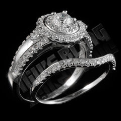 Affordable 925 Sterling Silver 18k White Gold 2 Piece Accented Halo Ring - Black Background