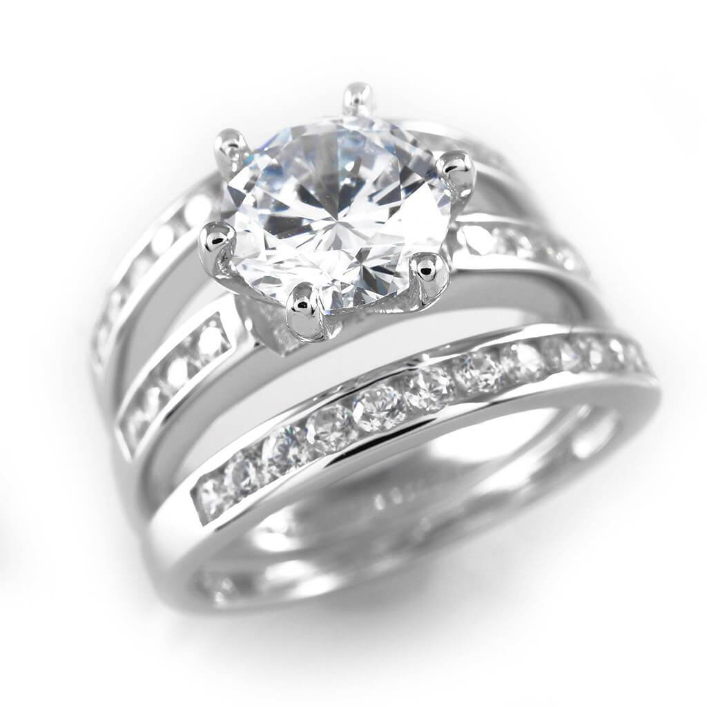 925 Sterling Silver 18k White Gold 3 Piece Band Nivs Bling