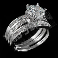 925 Sterling Silver 18k White Gold 3 Piece Band Wedding Ring