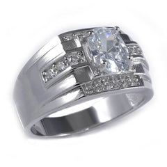 925 Sterling Silver 18k White Gold Band or Pinky Ring