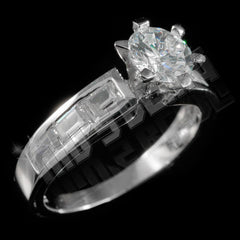 925 Sterling Silver 18k White Gold Emerald Channel Ring
