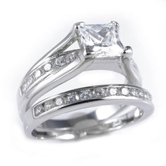 Affordable 925 Sterling Silver 18k White Gold Princess Cut Accented Ring - White Background