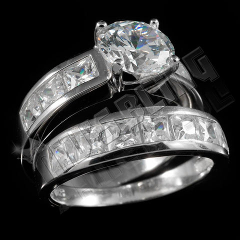 925 Sterling Silver 18k White Gold Solitaire Channel Ring