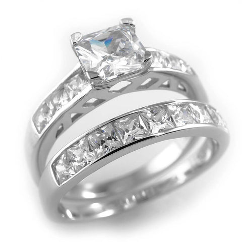 925 Sterling Silver 18k White Gold Wedding Princess Cut Ring