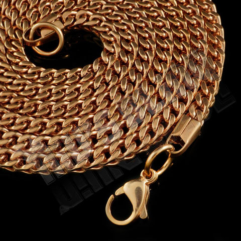 Affordable Hip Hop Necklaces 18K Rose Gold 4mm Franco Chain - Close up