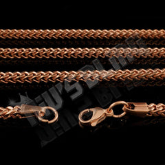Affordable Hip Hop Necklaces 18K Rose Gold 4mm Franco Chain - Side View with Closed Lobster Claw Clasp