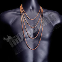 Affordable Hip Hop Necklaces 18K Rose Gold 4mm Franco Chain - On Mannequin