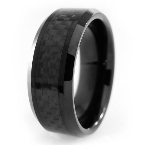 Affordable Black Carbon Fiber Inlay Tungsten Carbide Ring - White Background
