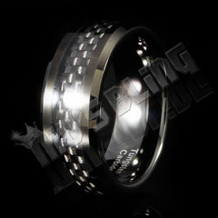 Affordable Black Carbon Fiber Inlay Tungsten Carbide Ring - Black Background