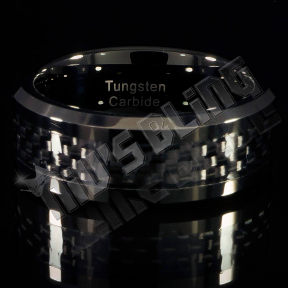 Affordable Black Carbon Fiber Inlay Tungsten Carbide Ring - Front View