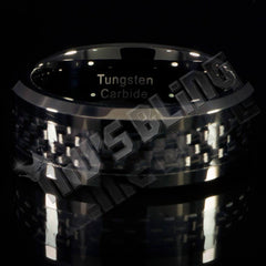 Black Carbon Fiber Inlay Tungsten Carbide Ring