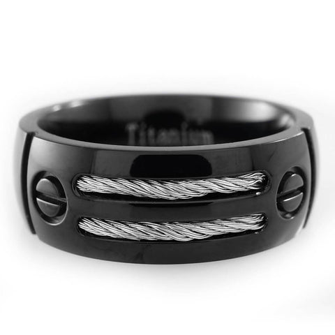 Affordable Black Stainless Steel Cable Inlay Titanium Ring - White Background