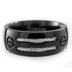 Black Stainless Steel Cable Inlay Titanium Ring