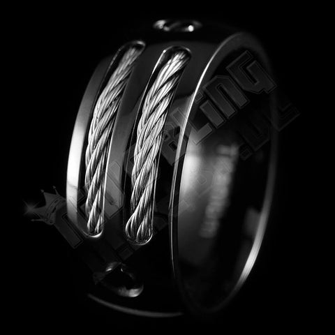 Affordable Black Stainless Steel Cable Inlay Titanium Ring - Black Background