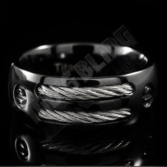 Affordable Black Stainless Steel Cable Inlay Titanium Ring - Front View