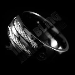 Affordable Black Stainless Steel Cable Inlay Titanium Ring - Tilted Side View