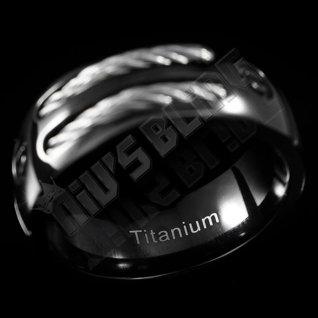 Affordable Black Stainless Steel Cable Inlay Titanium Ring - Side View