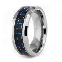 Affordable Black And Blue Carbon Fiber Silver Tungsten Carbide Ring 8MM - White Background