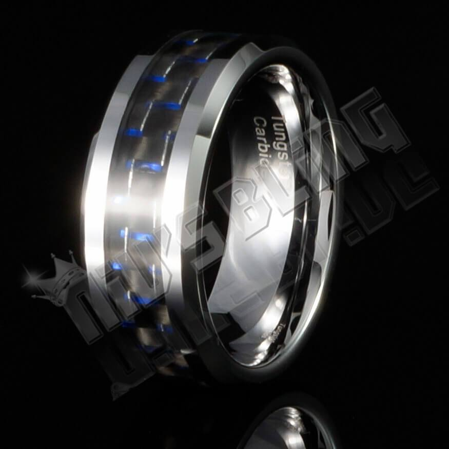 Affordable Black And Blue Carbon Fiber Silver Tungsten Carbide Ring 8MM - Black Background