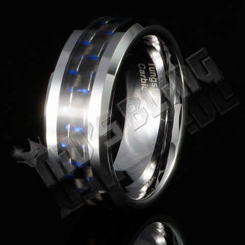 Black and Blue Carbon Fiber Silver Tungsten Carbide Ring 8MM