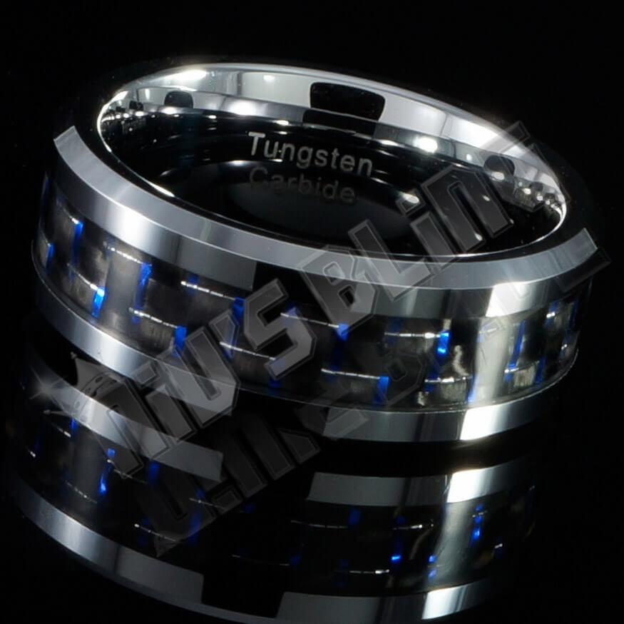 Affordable Black And Blue Carbon Fiber Silver Tungsten Carbide Ring 8MM - Side View