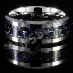 Affordable Black And Blue Carbon Fiber Silver Tungsten Carbide Ring 8MM - Front View