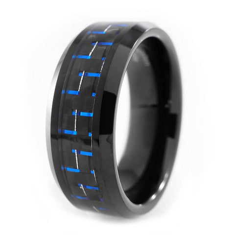 Affordable Black And Blue Carbon Fiber Tungsten Carbide Ring 8MM - White Background