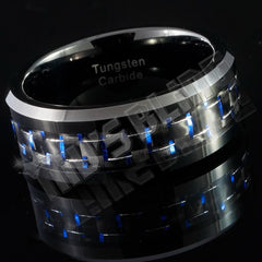 Black and Blue Carbon Fiber Tungsten Carbide Ring 8MM