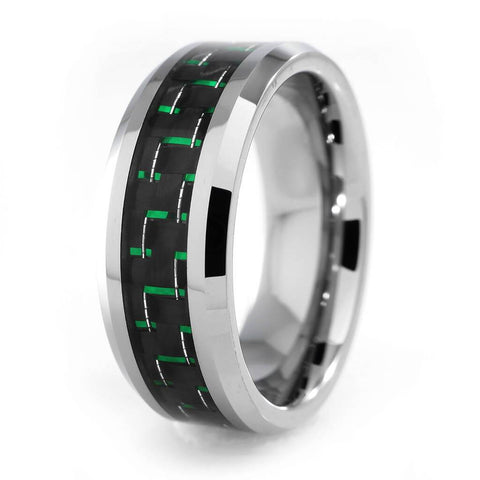 Affordable Black And Green Carbon Fiber Silver Tungsten Carbide Ring 8MM - White Background