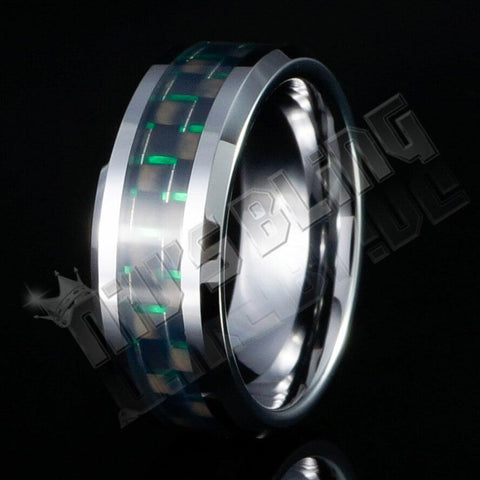 Affordable Black And Green Carbon Fiber Silver Tungsten Carbide Ring 8MM - Black Background