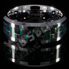 Black and Green Carbon Fiber Silver Tungsten Carbide Ring 8MM