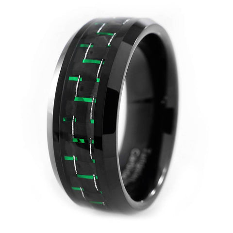 Affordable Black And Green Carbon Fiber Tungsten Carbide Ring 8MM - White Background