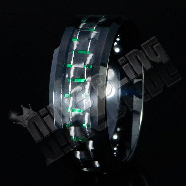 Black and Green Carbon Fiber Tungsten Carbide Ring 8MM