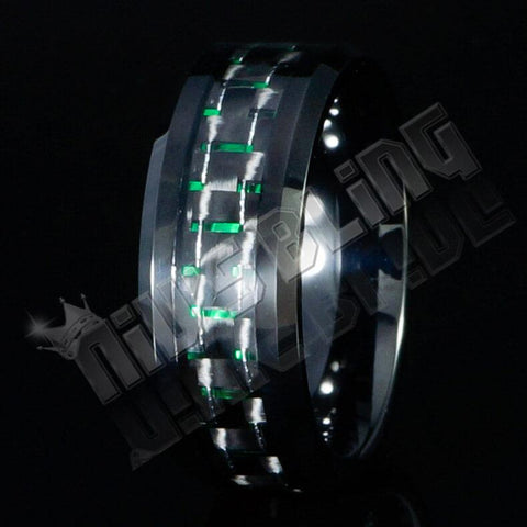 Affordable Black And Green Carbon Fiber Tungsten Carbide Ring 8MM - Black Background