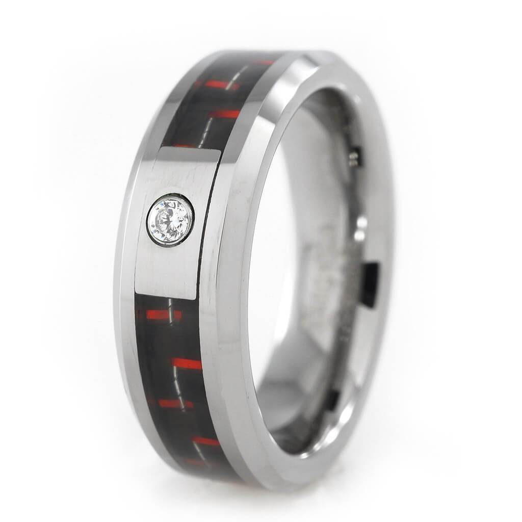 Affordable Black And Red Carbon Fiber Inlay Tungsten Carbide Ring - White Background