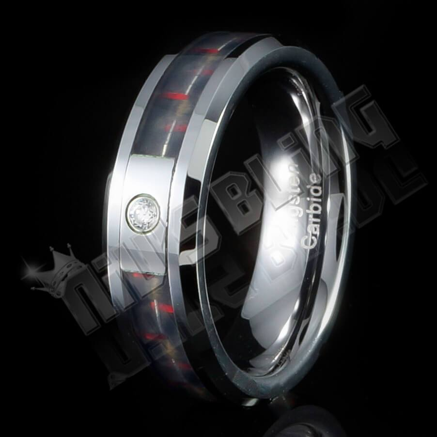 Affordable Black And Red Carbon Fiber Inlay Tungsten Carbide Ring - Black Background