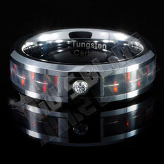 Affordable Black And Red Carbon Fiber Inlay Tungsten Carbide Ring - Front View