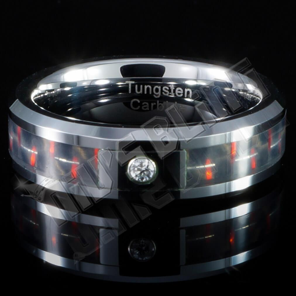 Affordable Black And Red Carbon Fiber Inlay Tungsten Carbide Ring - Close Up