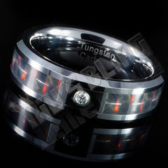 Affordable Black And Red Carbon Fiber Inlay Tungsten Carbide Ring - Side View