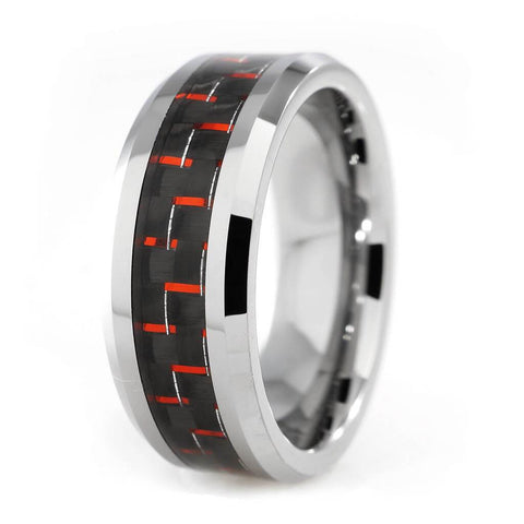 Affordable Black And Red Carbon Fiber Silver Tungsten Carbide Ring 8MM - White Background