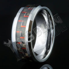 Affordable Black And Red Carbon Fiber Silver Tungsten Carbide Ring 8MM - Black Background