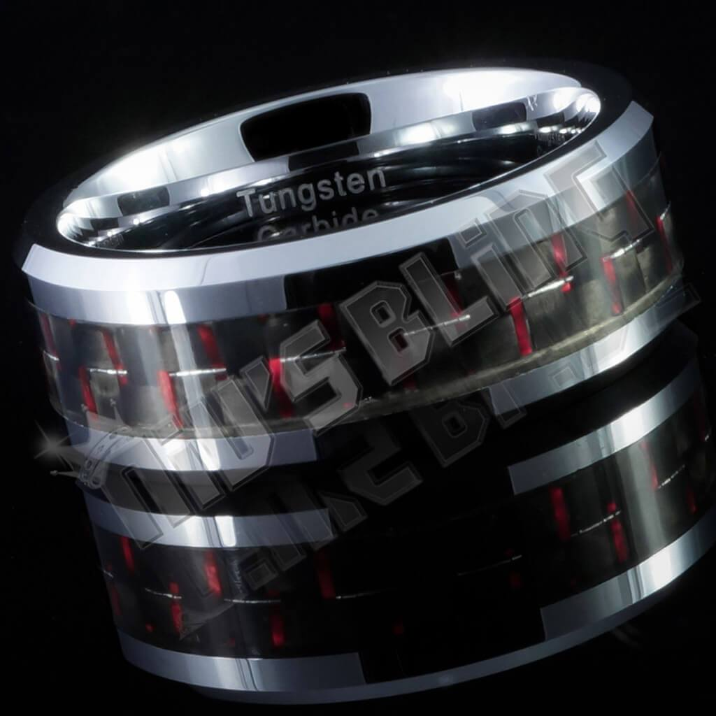 Affordable Black And Red Carbon Fiber Silver Tungsten Carbide Ring 8MM - Side View