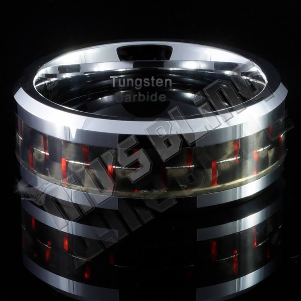 Affordable Black And Red Carbon Fiber Silver Tungsten Carbide Ring 8MM - Front View