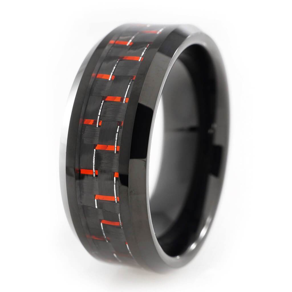 Affordable Black And Red Carbon Fiber Tungsten Carbide Ring 8MM - White Background