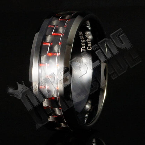 Affordable Black And Red Carbon Fiber Tungsten Carbide Ring 8MM - Black Background