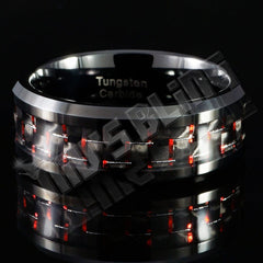 Affordable Black And Red Carbon Fiber Tungsten Carbide Ring 8MM - Front View
