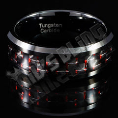 Affordable Black And Red Carbon Fiber Tungsten Carbide Ring 8MM - Close Up