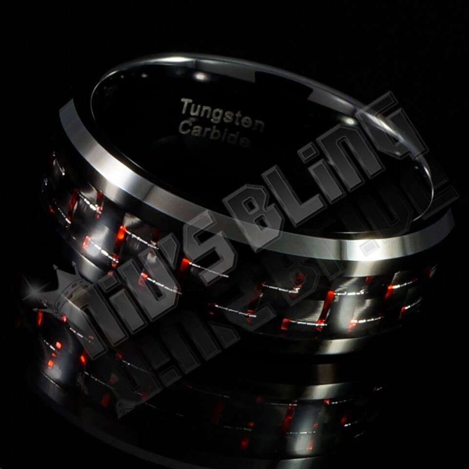 Affordable Black And Red Carbon Fiber Tungsten Carbide Ring 8MM - Side View