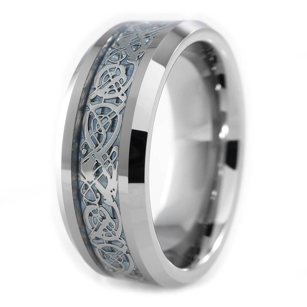 Blue Carbon Fiber Silver Celtic Dragon Tungsten Niv S
