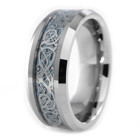 Affordable Blue Carbon Fiber Silver Celtic Dragon Tungsten Carbide Ring 8MM - White Background